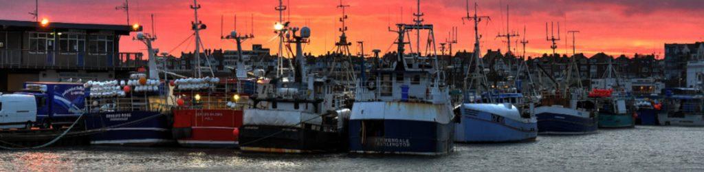 Bridlington Fishing Fleet as the sun sets on the Yorkshire coast