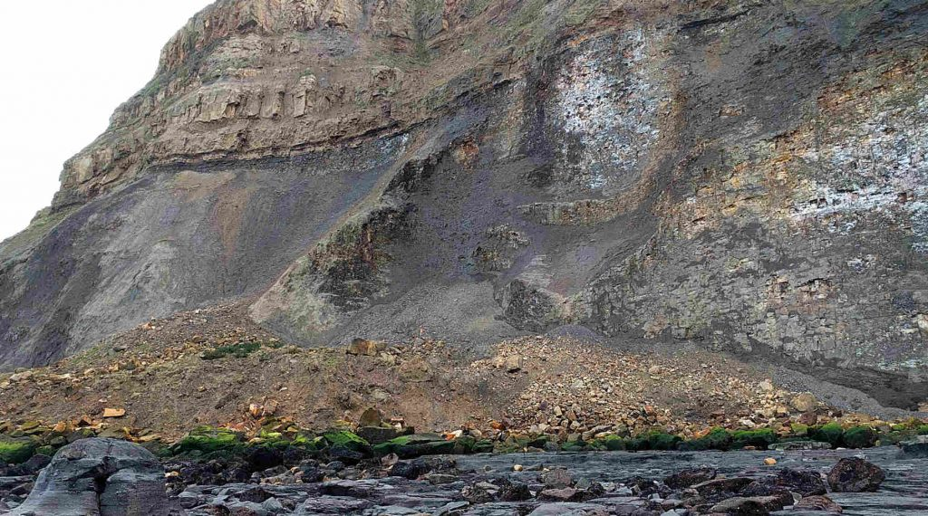 Rock Fall near Port Mulgrave harbour